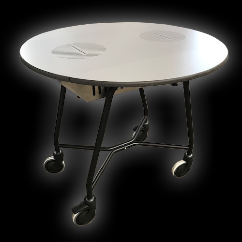 Room service table with induction units