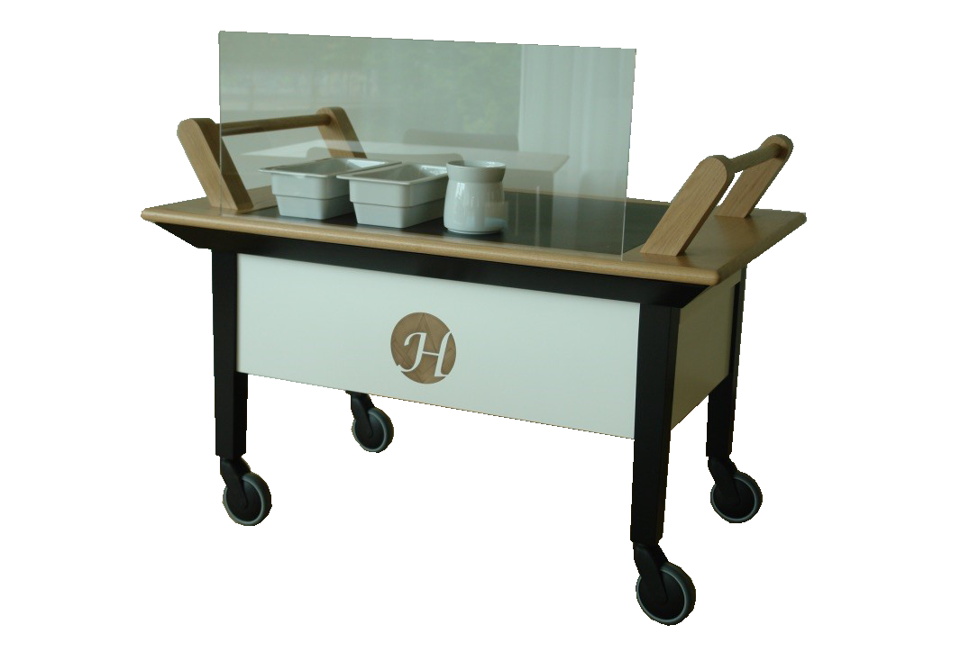Food distribution cart with induction units