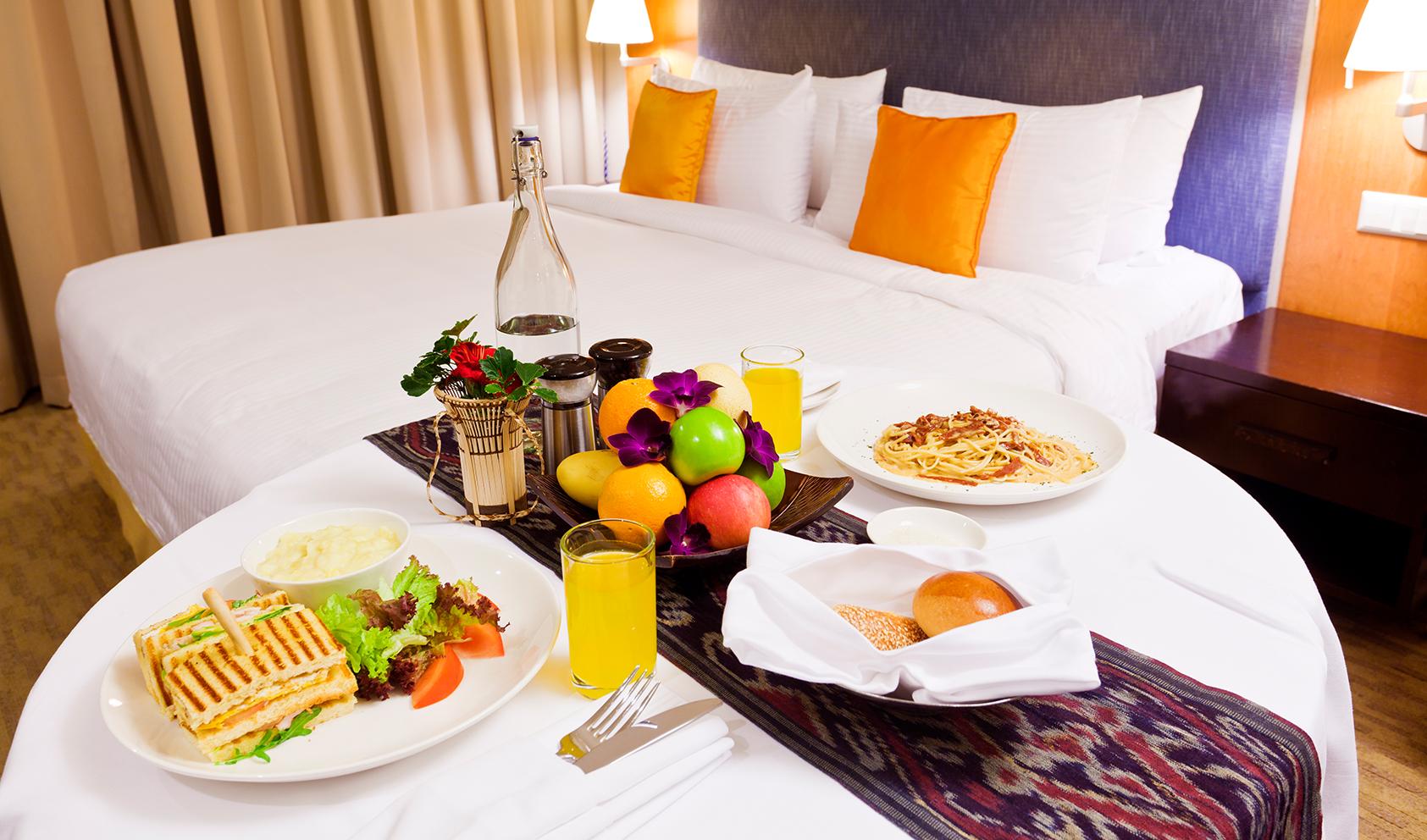 Room service table to keep food warm