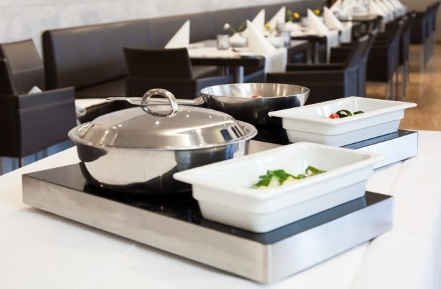 Tabletop induction units for hot buffets