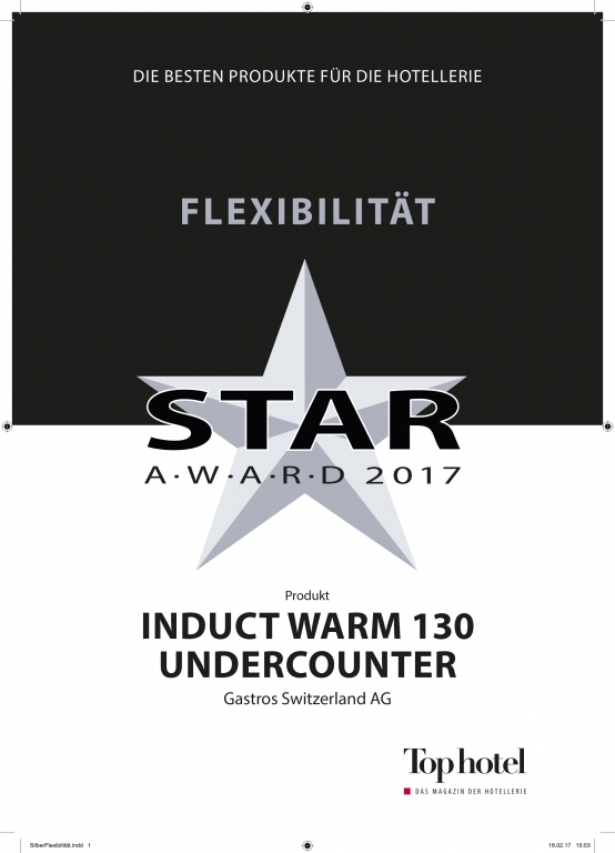 Tophotel star award for undercounter induction unit