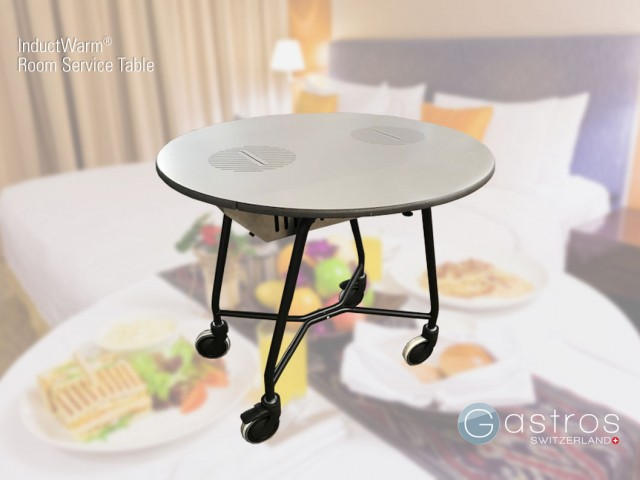 Room service table with induction units for hot food
